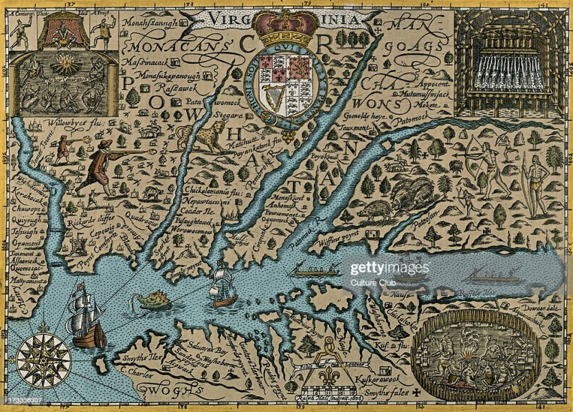 Map of Virgina Pictures   Getty Images Map of Virgina   published in Mercator  s  Historia Mundi