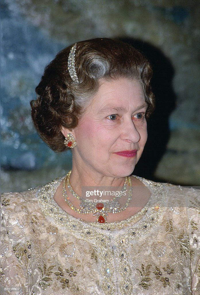 Queen Elizabeth II Wearing A Diamond Hairclip In Her Hair