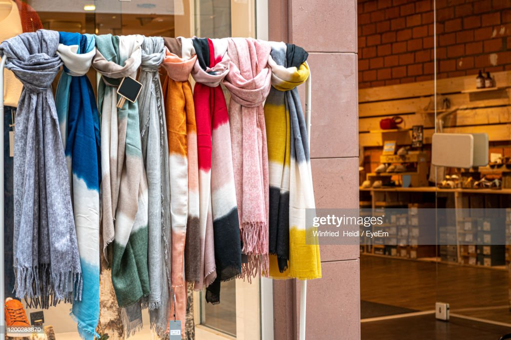 scarf display rack photos and premium high res pictures getty images