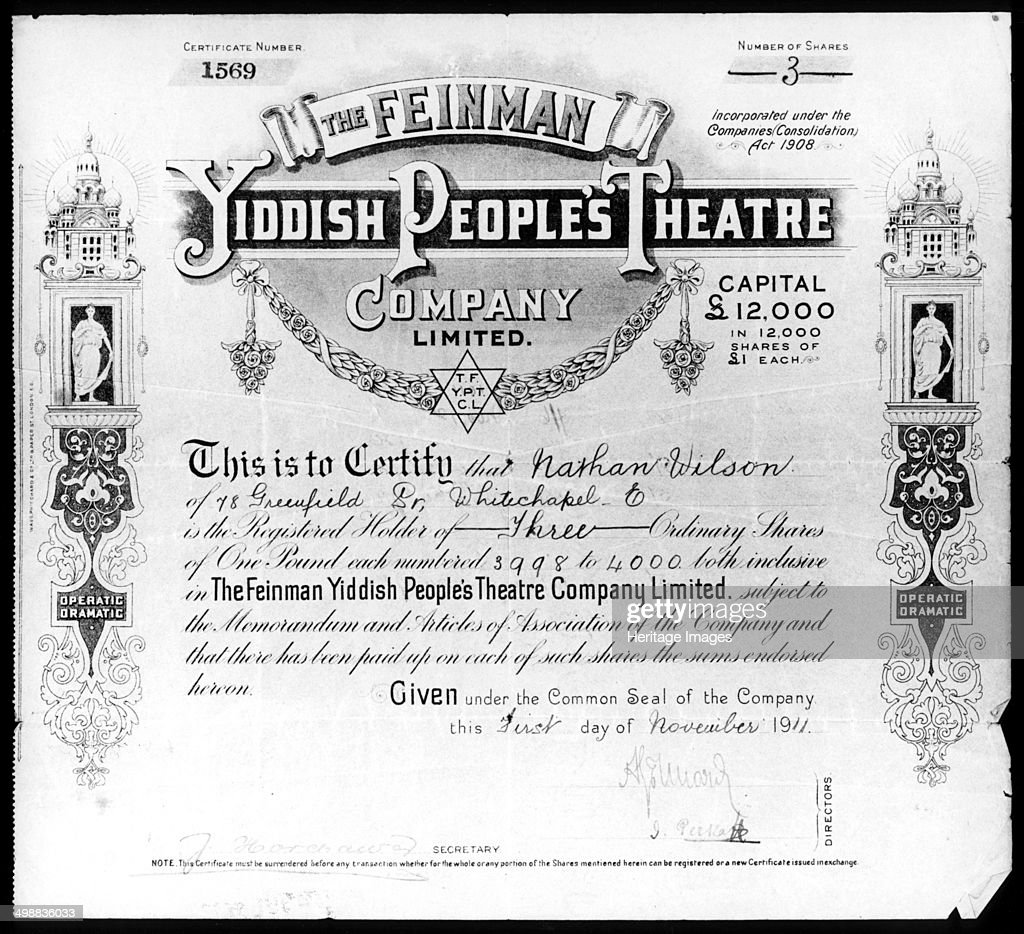 Example of share certificate fx trader cover letter online share certificate template asic images certificate design and yiddish peoples theatre share certificate 1 november 1911 yelopaper Images