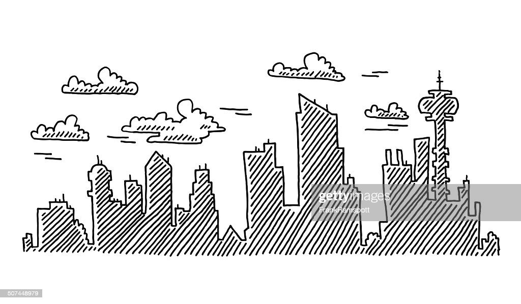 Abstract City Skyline Drawing Vector Art Getty Images