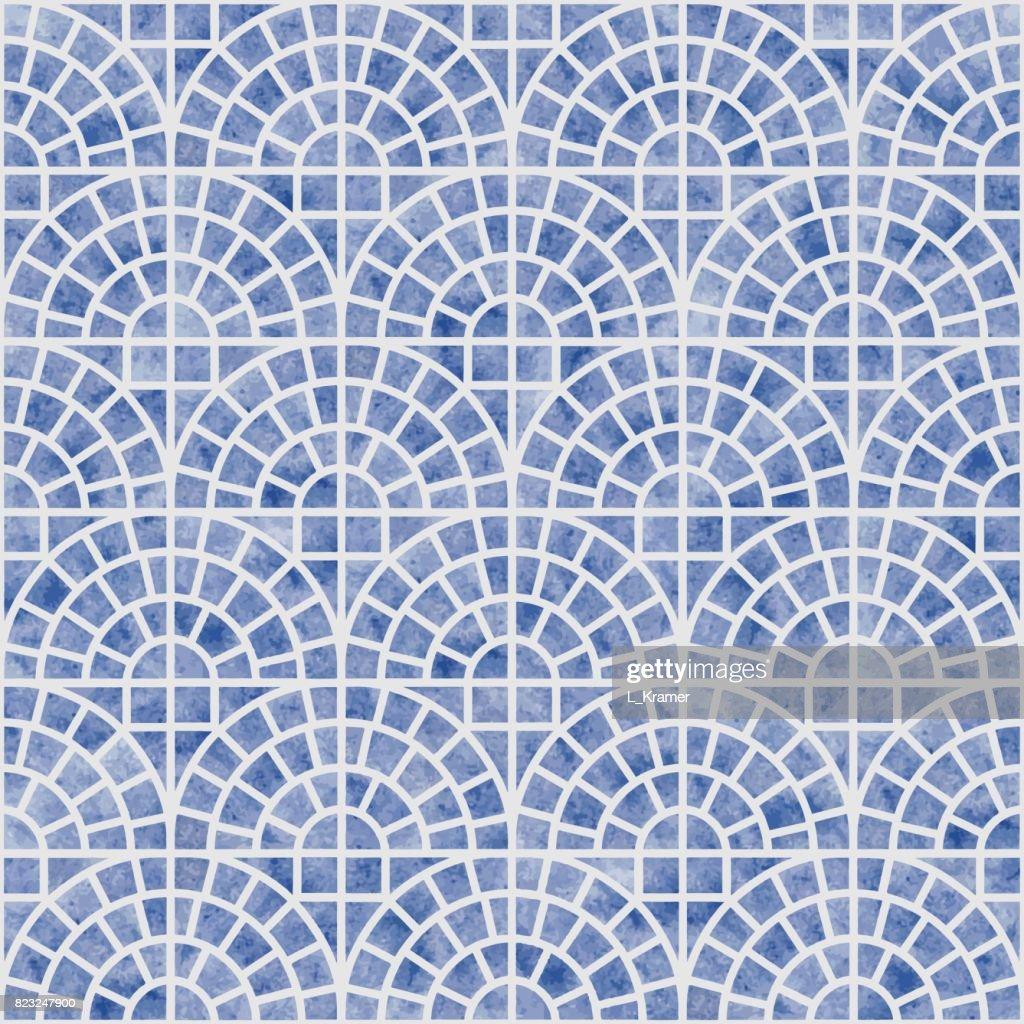 Modele Dechelle Geometrique Sans Soudure Abstract Vector Avec Une Texture Aquarelle Bleue Sur Fond Gris Clair Carrelage Papier Peint Papier Demballage Remplissage De La Page Dans Un Style Mediterraneen En Ceramique Illustration