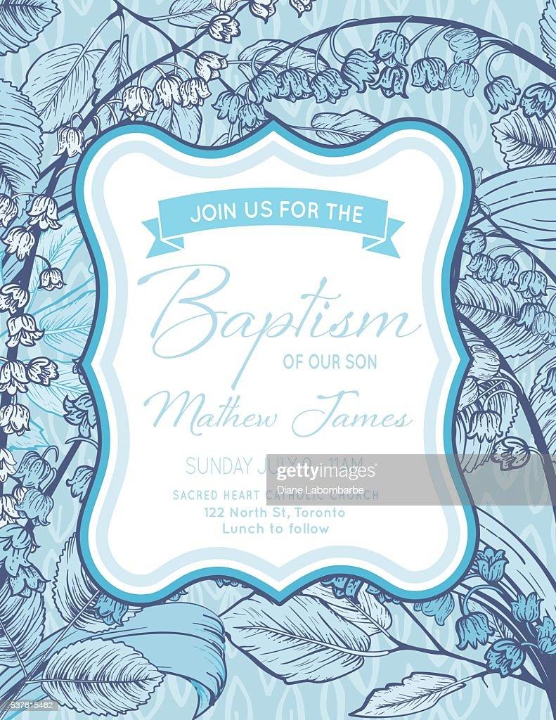 Baby Boy Baptism Invitation Template