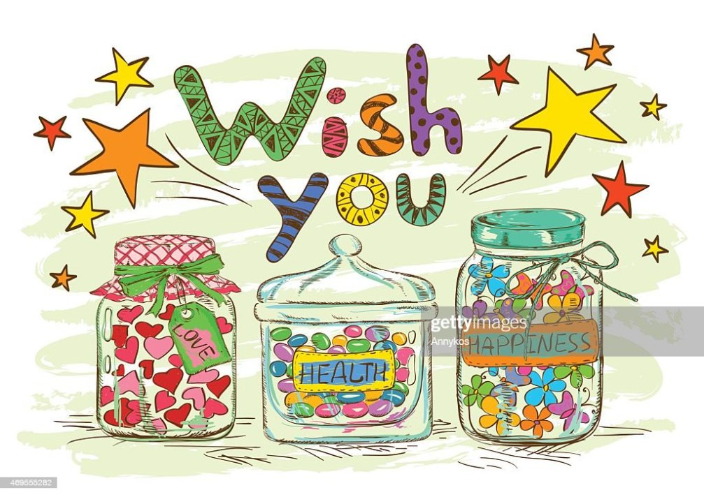 Birthday Greeting Card With Jars And Wishes Vector Art