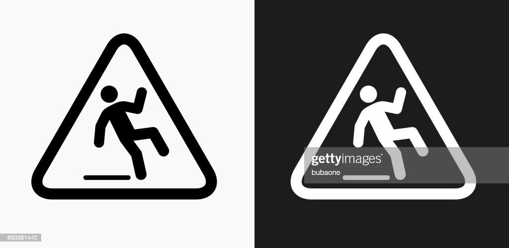 https www gettyimages ch detail illustration caution slippery sign icon on black and white lizenfreie illustration 693381442 language fr