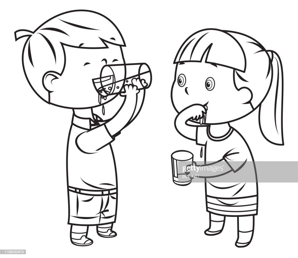 livre de coloriage petit garcon et fille boit de leau illustration getty images