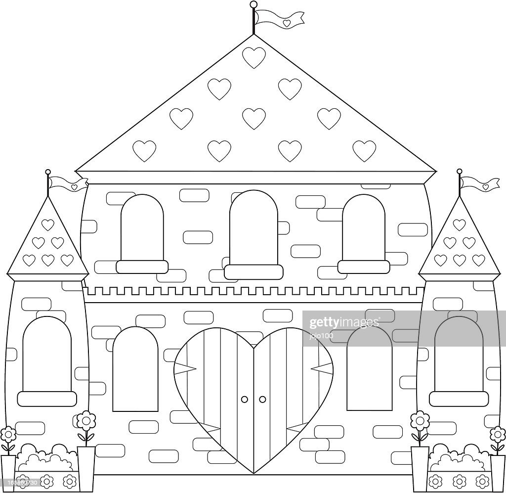enchanted sparkly princess castlepalace to color in vector art