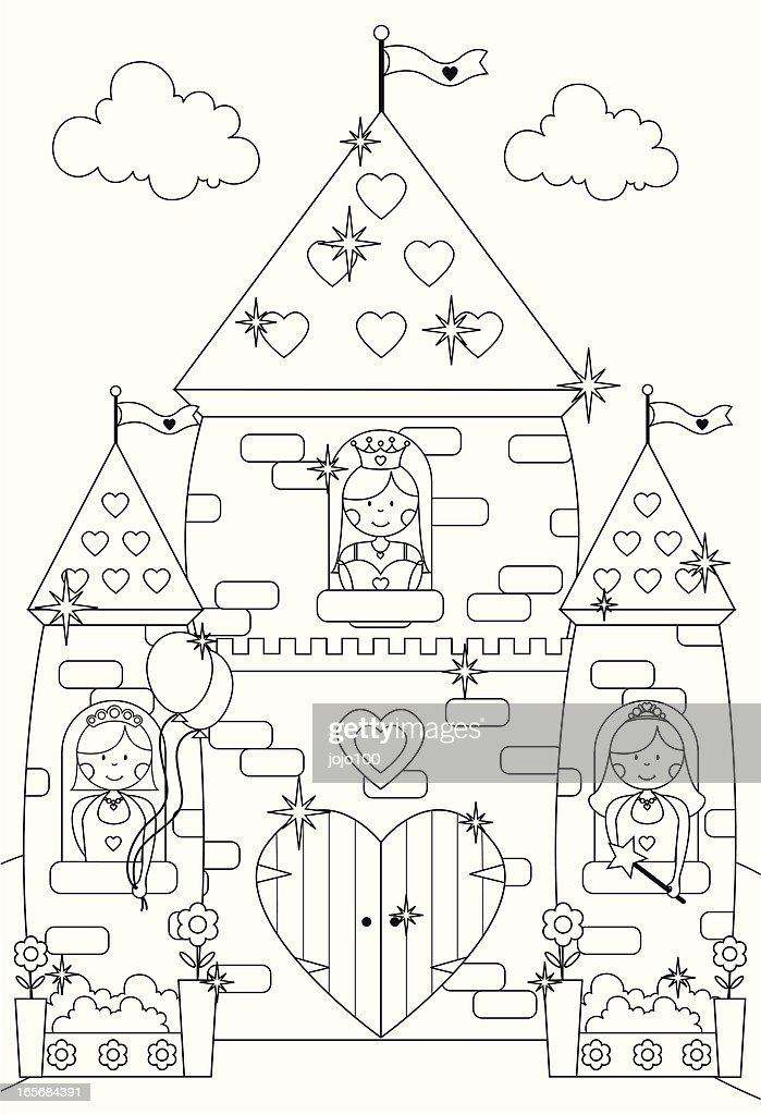fairytale sparkly castle and princess characters to color in