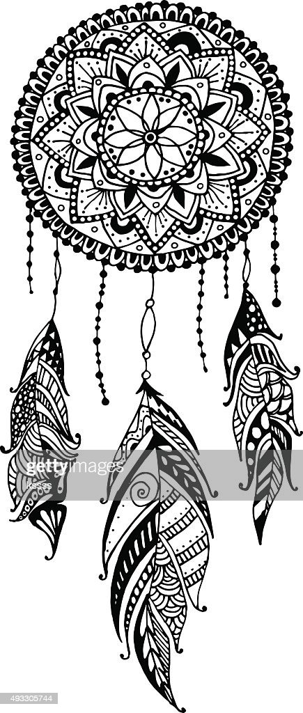 Handdrawn Mandala Dreamcatcher With Feathers Ethnic