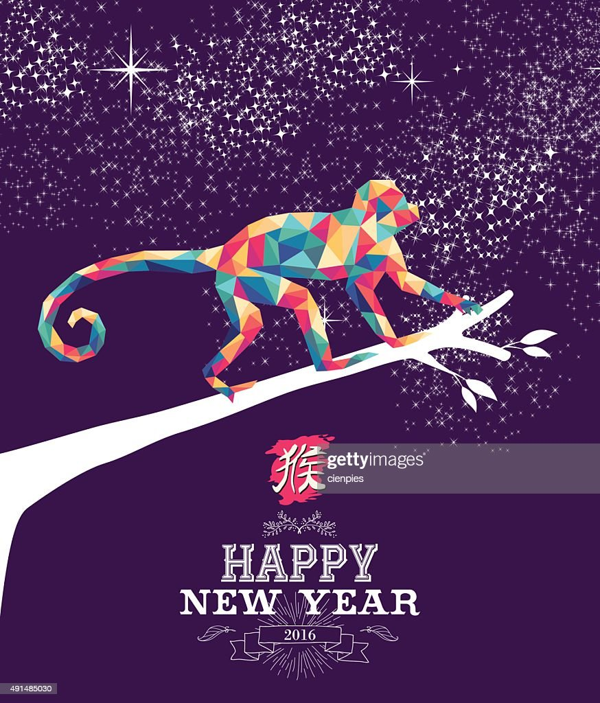 Happy Chinese New Year Monkey 2016 Triangle Color Vector Art     Happy chinese new year monkey 2016 triangle color   Vector Art