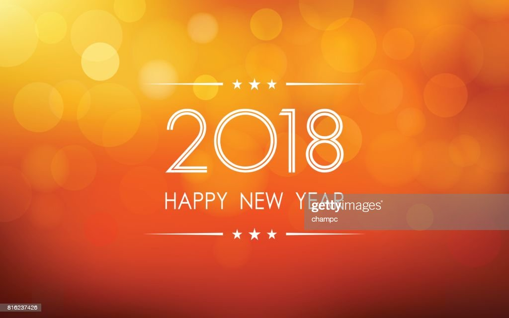 Happy New Year 2018 With Bokeh And Lens Flare Pattern On Summer     happy new year 2018 with bokeh and lens flare pattern on summer orange color  background