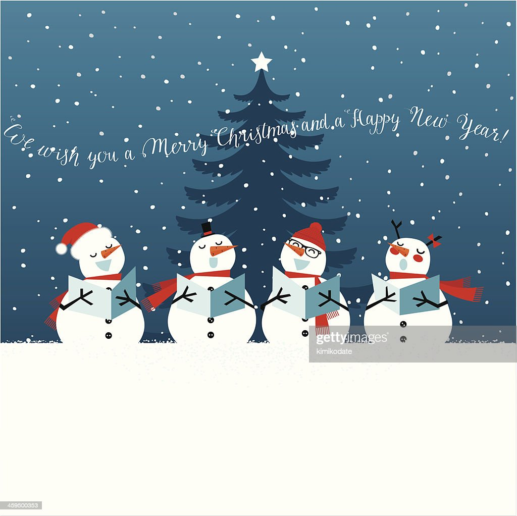 Holiday Christmas Card With Singing Snowmen Vector Art