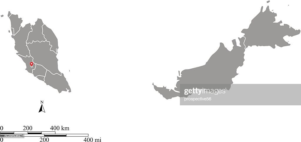 Malaysia Map Outline Vector With Scales Of Miles And Kilometers     Malaysia map outline vector with scales of miles and kilometers   Vector Art