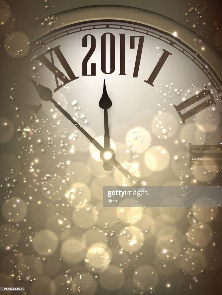 2017 New Year Background With Clock Vector Art   Thinkstock 2017 New Year background with clock    Vector Art
