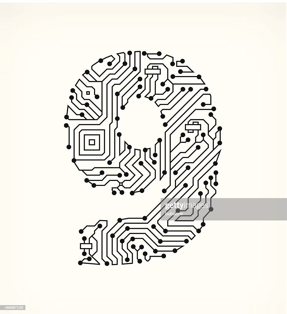 Nine circuit board on white background vector art getty images