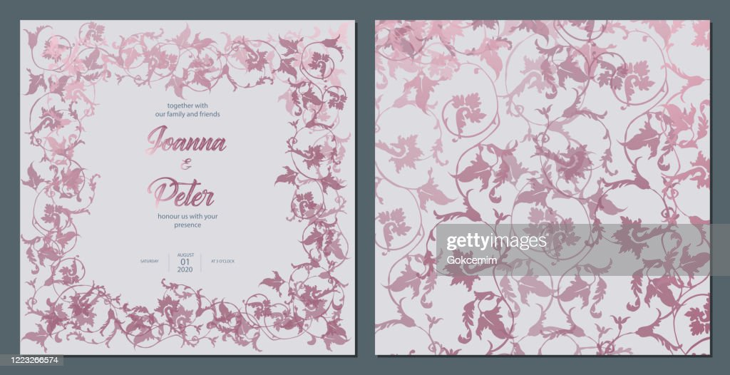 rose gold ivy leaves floral background wedding invitation card template set high res vector graphic getty images