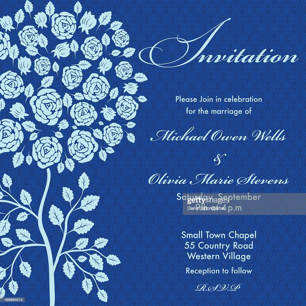 Rose Tree Wedding Invitation Blue On Navy Background Stock