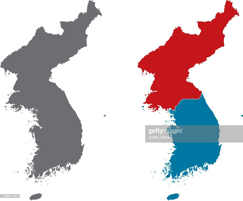 Shape Of Korean Peninsula And North Korea And South Korea High Res Vector Graphic Getty Images