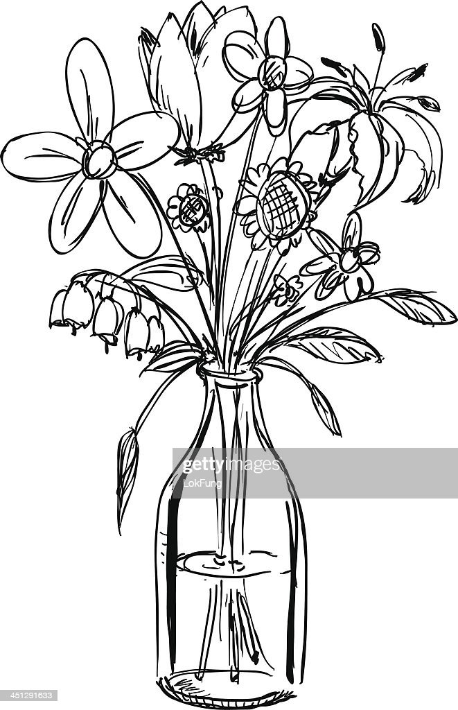 Sketch Of A Bouquet Of Flowers In A Waterfilled Vase