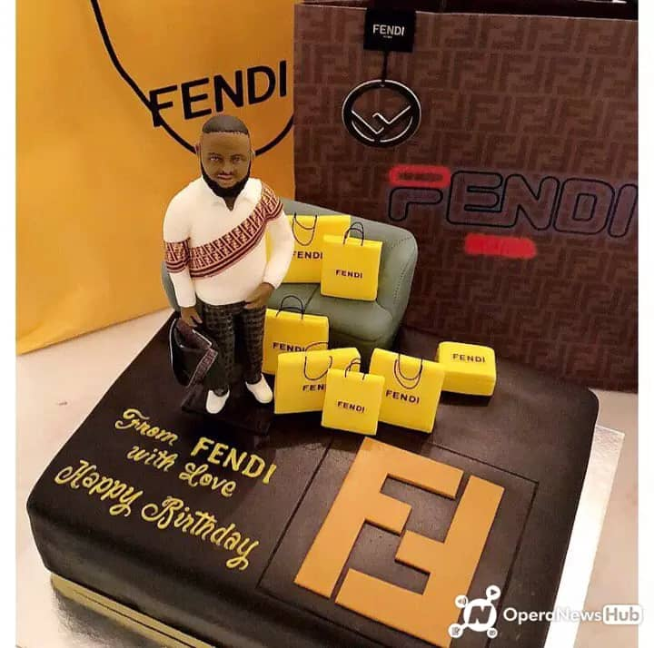 See THROWBACK Photo When Fendi Wears Surprised Hushpuppi With Customized Cake