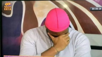 BBnaija 2020: EPIC Reaction Of Ozo As He Was Caught Covering His Face When Laycon Was Doing His Dare With Nengi