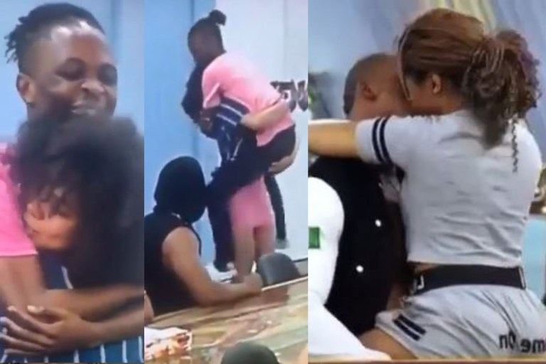 BBNaija: Moment Nengi carried Laycon as they try to reenact the Eric and Lilo Truth or Dare Kissing scene (Video)