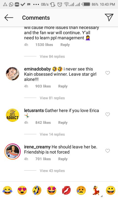 BBNaija: Fans Drag Laycon To The Gutters After He Went Back To Unfollow Erica Hours After He Followed Her