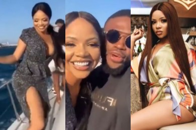 Nengi stunts on a boat riding in South Africa (Video)