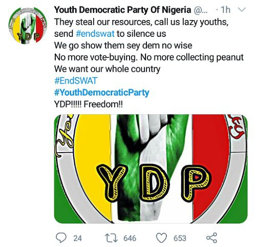Twitter On Fire As Nigerian Youths Set To Form #YouthDemocraticParty (Photo)