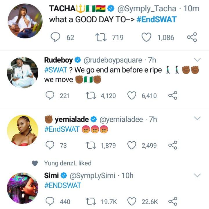 Rudeboy, Simi, Yemi Alade, Reno Omokri Others Kick Against SWAT – Begin #EndSWAT Campaign