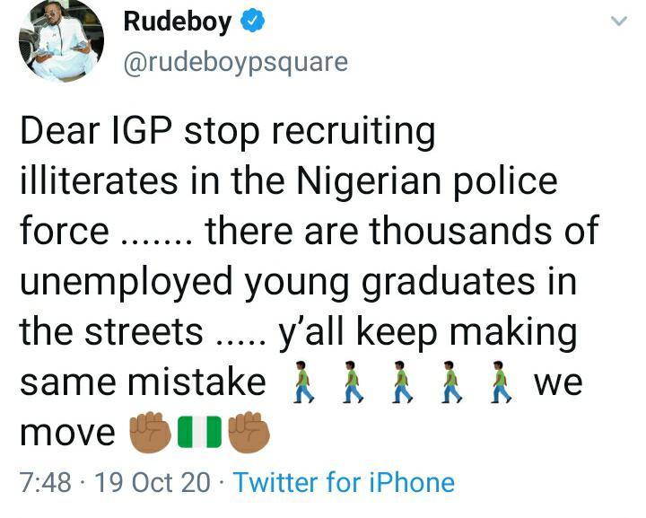 Rudeboy EndSars protest
