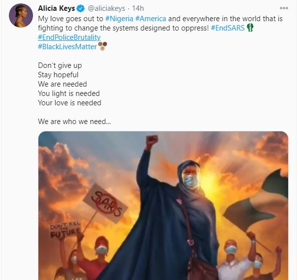 Lekki Toll Gate Killings: 'Don't Give Up'- Alicia Keys Urges #EndSARS Protesters, Lekki Toll Gate Killings: 'Don't Give Up'- Alicia Keys Urges #EndSARS Protesters, Latest Nigeria News, Daily Devotionals & Celebrity Gossips - Chidispalace