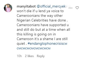 """Mercy Eke, You Are A Wicked Girl"" - Cameroonian Fans Slam Mercy Eke For Refusing To Speak On The Anglophone Crisis"