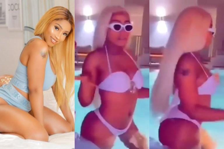 What Mercy Eke did in Dubai as she flaunts her backside in a white bikini