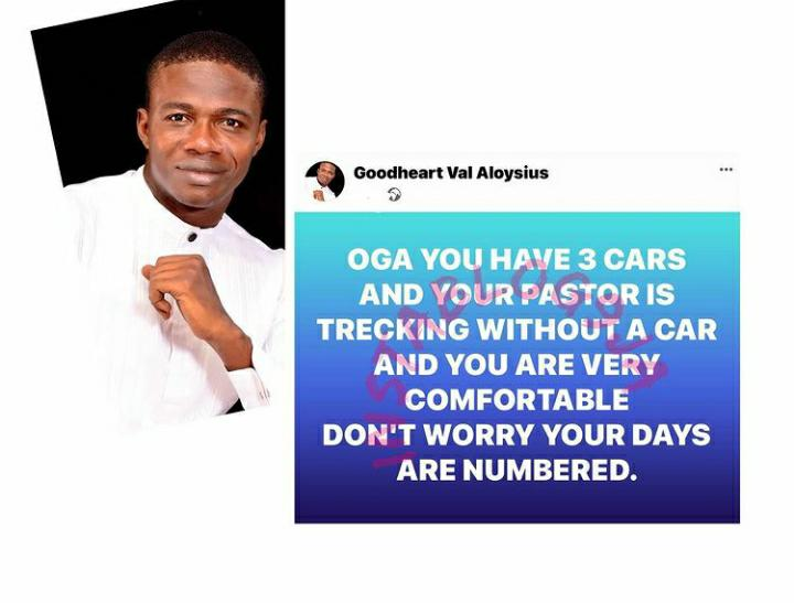 Your Days Are Numbered If You Have 3 Cars And Your Pastor Is Trekking – Prophet Goodheart Says