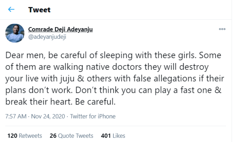 """""""Be Careful Of Sleeping With These Type Of Girls""""- Nigerian Activist Shares Profound Message"""
