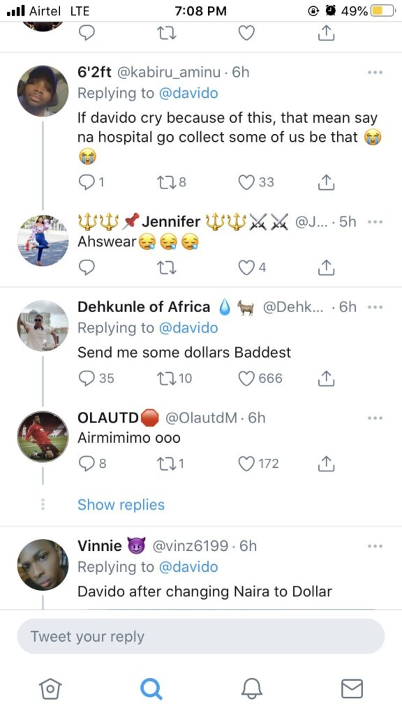 Davido shed Tears, See Reactions After Davido Shed Tears On Twitter