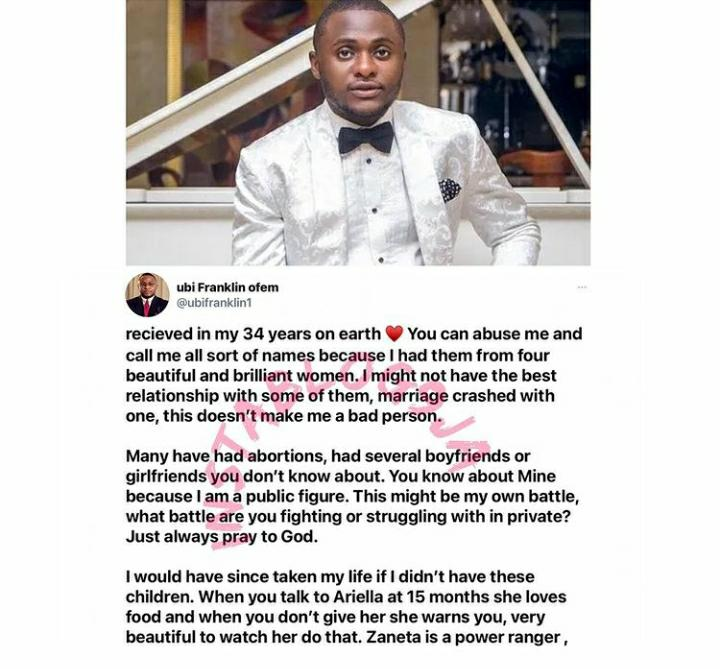 Having 4 Children From Different Women Doesn't Make Me A Bad Person - Ubi  Franklin Says