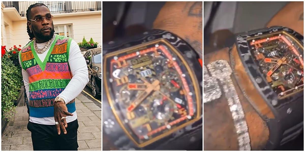 Burna Boy Flaunts A Richard Mille Wrist Watch Worth N100 Million - Video