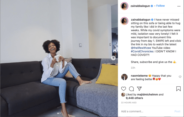 Zainab Balogun Recounts Scary Experience With COVID-19