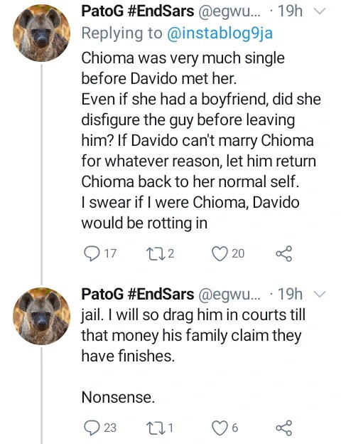 'I Will Drag Davido To Court If I Were Chioma' – Fan Says After Chioma Deleted Davido's Picture