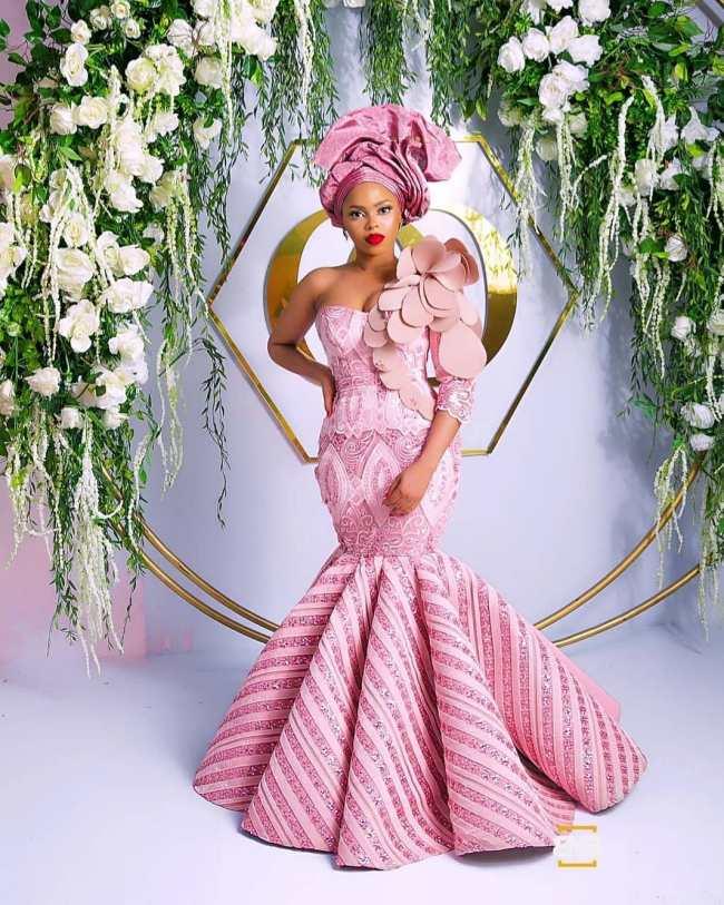Chidinma Ekille wear cream gown