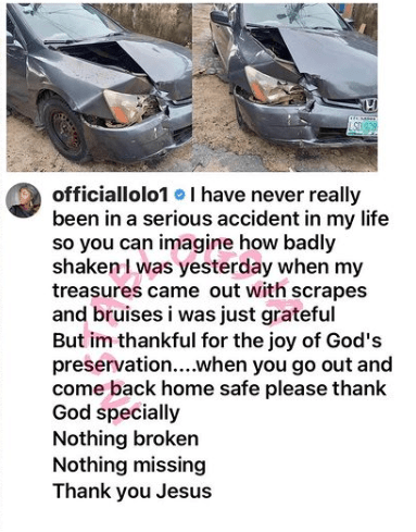 'Nothing Broken, Nothing Missing' -OAP Lolo Give Her Thanks To God As She And Her Kids Survived A Car Accident