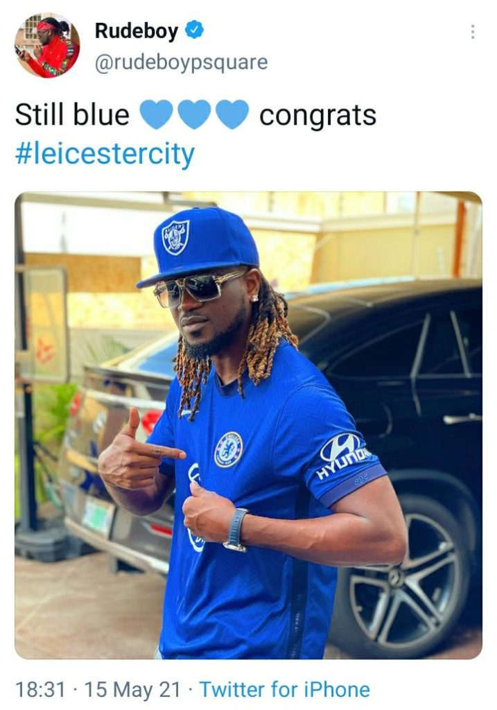Rudeboy And Brother Peter Okoye Profess Their Undying Love For Chelsea After Their Defeat