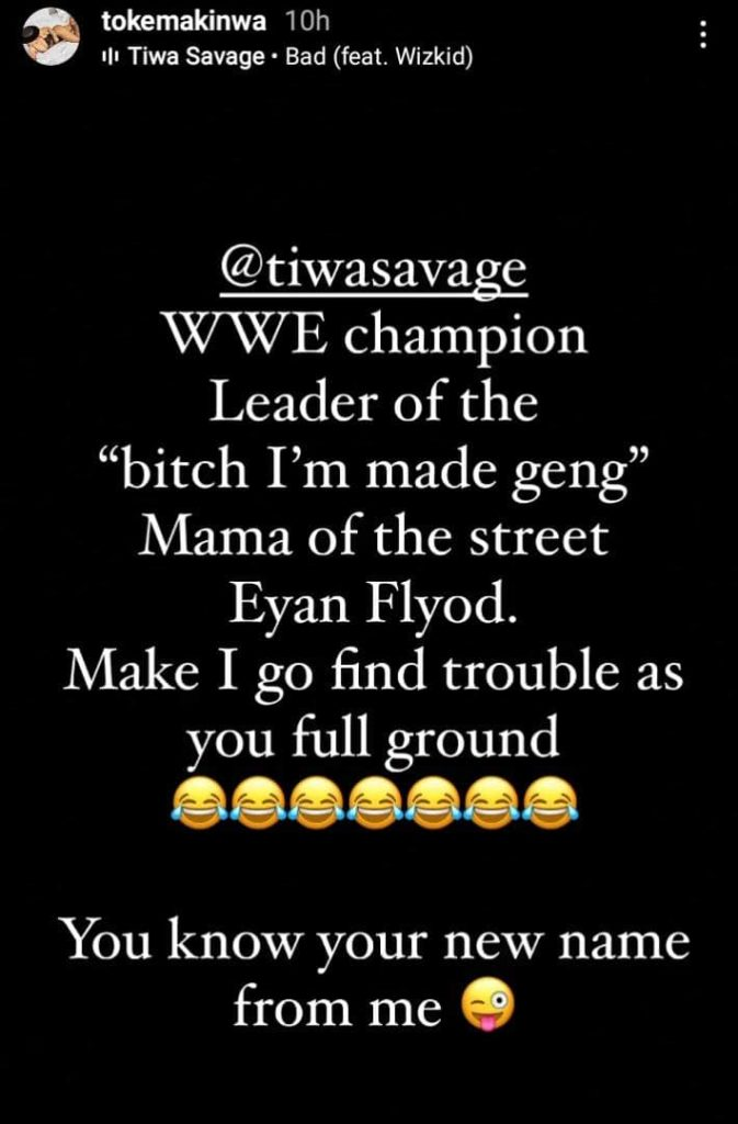 Toke Makinwa Hails Tiwa Savage As The WWE Champion Leader After Her Fight With Seyi Shay