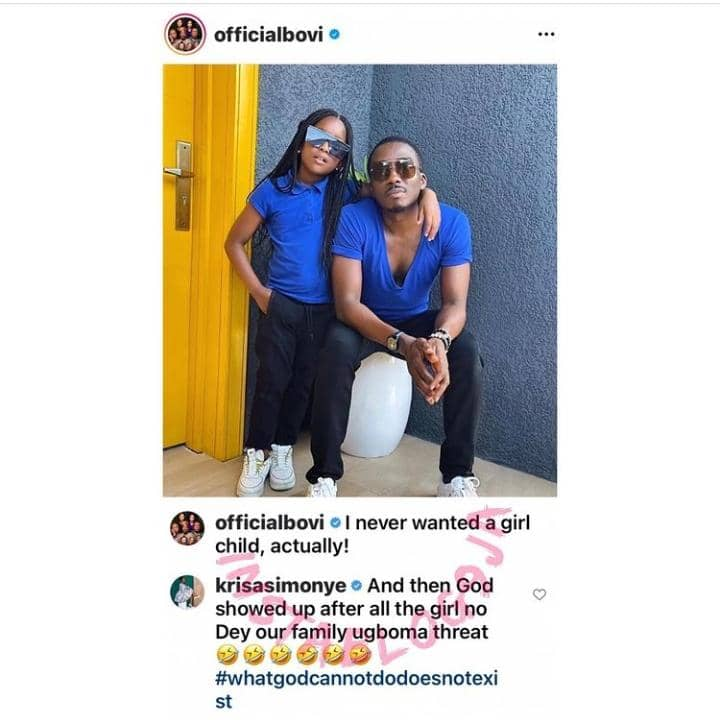Comedian Bovi's Wife Reacts After He Said He Never Wanted A Girl Child