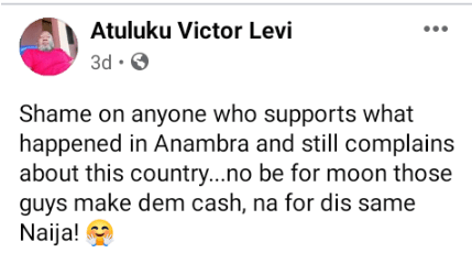 """""""Shame On Anyone Who Backs What Transpired In Anambra And Still Laments About The Country"""""""