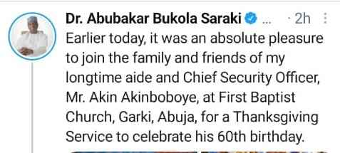 Bukola Saraki Visits The Church To Celebrate Aide's 60th Birthday