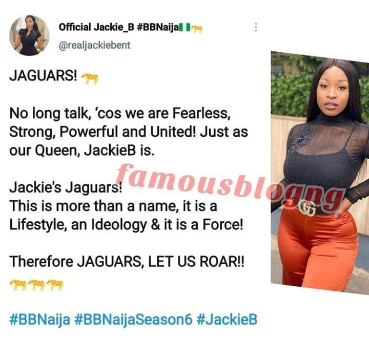 Fans Of Jackie B Angrily React As Her Handler Gives Animal Name To Her Fanbase