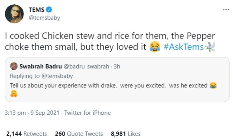 I Cooked For Drake And His Pals, The Pepper Choked Them Small But They Loved It – Nigerian Singer, Tems,